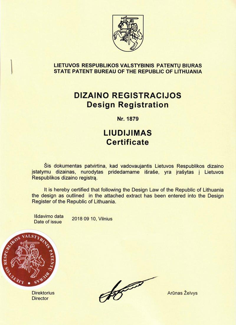 Dizaino registracijos liudijimas - patentavimas