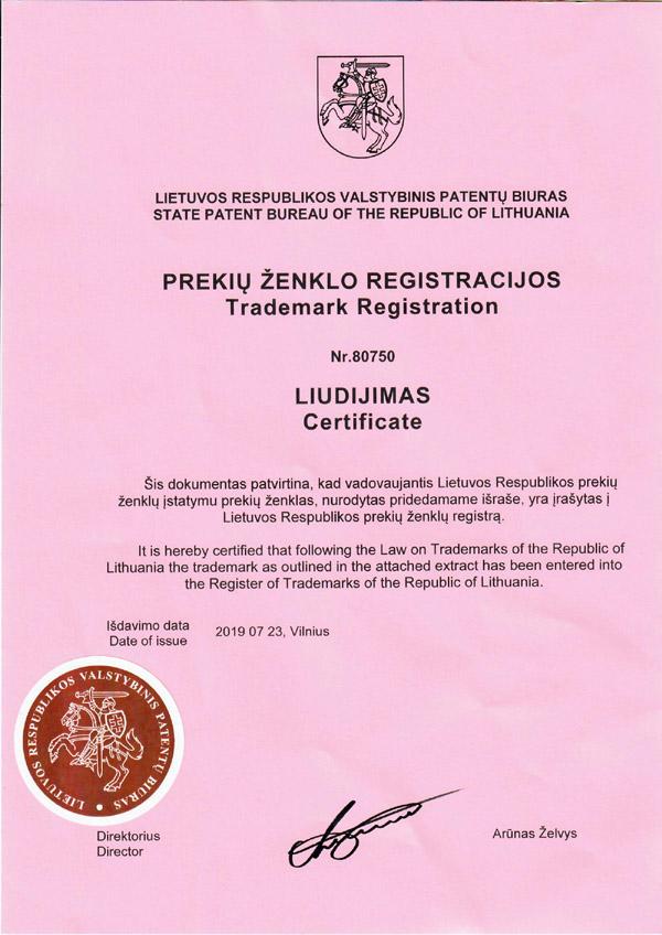 Prekės ženklo vardo registracijos liudijimas - patentavimas